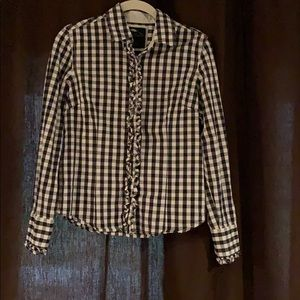 Tops - Black/White checked button up with ruffles